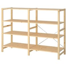 IKEA - IVAR, 2 section shelving unit, pine, Untreated solid pine is a durable natural material that can be painted, oiled or stained according to preference. You can personalize the furniture even more by staining or painting it your favorite color. Pine Shelves, Ikea Ivar Shelves, Diy Storage Shelves, Book Shelves, Craft Storage, Storage Spaces, Metal Shelving Units, Basement Shelving, Ikea Us