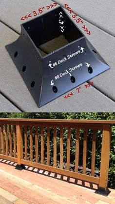 4 x 4 Post Holder allows for a strong, easy, quick and beautiful way to erect decking posts. Available at:  http://wizind.com/4x4PostHolder.shtml