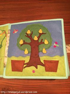 Quiet Book Spielbuch aus Stoff Filz  Baum mit Obst Apfel Birne
