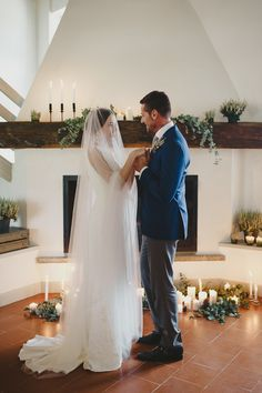 Indoor fireplace wedding ceremony | Catoski Photoart