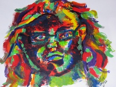 expressive acrylic self portrait