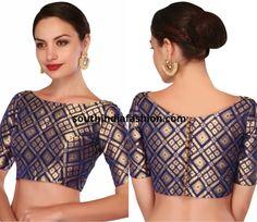 Latest saree blouse patterns for 2018 saree jacket designs Indian Blouse Designs, Blouse Back Neck Designs, Brocade Blouse Designs, Saree Jacket Designs, Pattu Saree Blouse Designs, Designer Blouse Patterns, Brocade Blouses, Boat Neck Designs Blouses, Latest Blouse Patterns