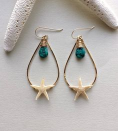 Turquoise Starfish Hoops Real Starfish by BellaAnelaJewelry