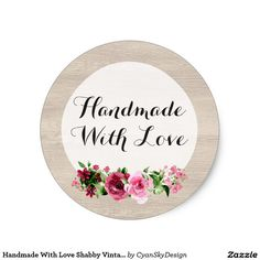 Round Paper Labels HAND MADE WITH LOVE Stickers RED AND GOLD