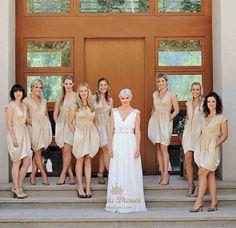 lindadress.com Offers High Quality Champagne V Neck Cap Sleeve Short Ruched…