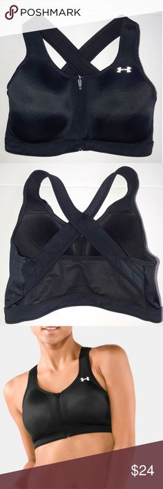 UNDER ARMOUR Bra EUC; Women's Endure High-Impact Sports Bra (D Cup)171Style #1001175; Zip front, x back  Compression:Ultra-tight, second-skin fit for a locked-in feel.Premium moisture transport and mesh give you superior breathability and supportCompression fit, Under Armour Intimates & Sleepwear