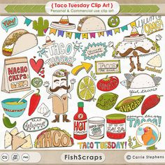 Everyone Loves Tacos! Hooray for Taco Tuesday! Cinqo de mayo - Mexican Fiesta - Lime, Guacamole, Nachos, Jalapenos, Hot Sauce, Salsa, Sour Cream, Fish Tacos, Cactus and Tomato. This Delicious Taco Clipart Ranges ranges between 6 - 11 inches in size. High Resolution - 300 dpi 52 Individual ClipArts - Personal and Commercial (Small Business) Use! See Terms for More Details