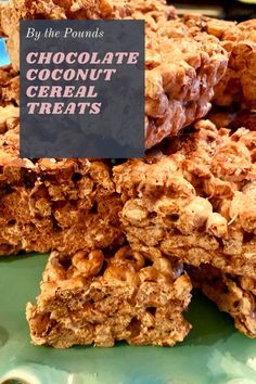 Chocolate Coconut Cereal Treats - By the Pounds Best Brownie Recipe, Brownie Recipes, Peanut Butter Cookies, Yummy Cookies, Baking Recipes, Dessert Recipes, Bar Recipes, Chocolate Flavors, Chocolate Desserts