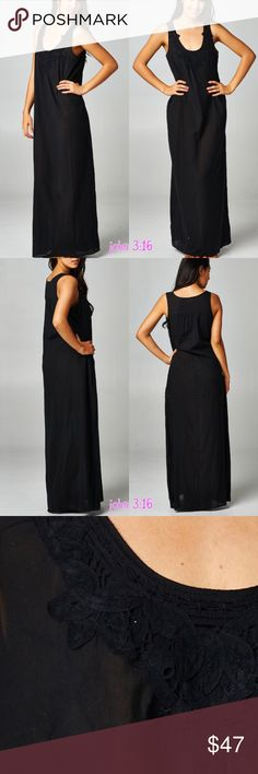 Cruisin Maxi💞 This stunning maxi is ready for any vacation 😎 has a loose fit and fun crochet detailing at neckline. 100% Rayon. Price is firm unless bundled. Boutique Dresses Maxi