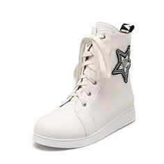 AmoonyFashion Womens Soft Material Laceup Closed Round Toe LowHeels Lowtop Boots White 43 * Check out the image by visiting the link.(This is an Amazon affiliate link and I receive a commission for the sales)