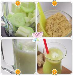 Zumo verde de manzana, pepino y jengibre para perder peso