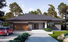 My House Plans, Modern House Plans, Modern House Design, Bungalow Haus Design, Modern Bungalow House, Home Building Design, Building A House, Morrocan House, Spanish House
