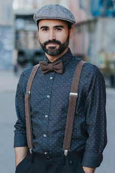 Brown Bow Tie and Suspenders Mens Bow Tie and Matching