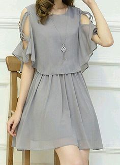 Only buy M ladylike women's scoop neck hollow out half sleeve dress Gray at online chiffon dresses shop, sammydress com Mobile is part of Dresses - Stylish Dresses, Simple Dresses, Cute Dresses, Beautiful Dresses, Casual Dresses, Short Dresses, Chiffon Dresses, Dresses Dresses, Summer Dresses