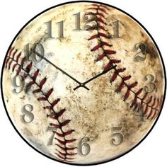 Awesome vintage looking baseball clock - how perfect for a boy's room!  Sports Clocks | The Big Clock Store