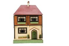An interesting G & J Lines Wooden Dolls' House, cream-painted and brick-paper façade, rough-cas