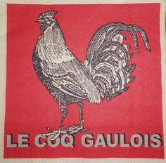 """Serviette en papier Pub/Rétro :""""Le Coq Gaulois"""""""