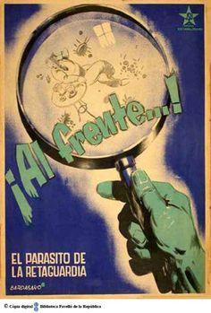¡Al frente...! : el parásito de la retaguardia :: Cartells del Pavelló de la República (Universitat de Barcelona)