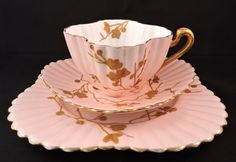 Wileman Foley Pre-Shelley Alexandra Teacup Trio Gold Blossoms on Pink 3844 c1880