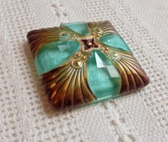 Gorgeous Hand Painted Square Czech Glass Button - 35 mm - Gold, Maroon and Light Teal Green