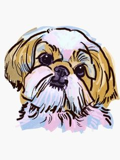 The Shih Tzu Always Keeps Me Smiling! Wall Hanging Tapestry by Crazy Lalanny - Small: x Perro Shih Tzu, Shih Tzu Puppy, Shitzu Puppies, Chinese Imperial Dog, Framed Art Prints, Canvas Prints, Tapestry Wall Hanging, Wall Tapestries, Dog Art