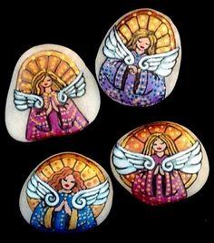 Painted guardian angel stones