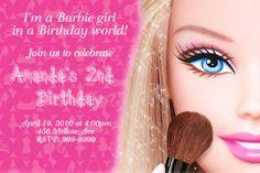 Barbie Birthday Party Invitations Invite 24 HOUR SERVICE