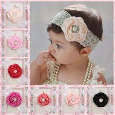 Kids Baby Girl Toddler Cute Lace Pearl Flower Headband Hair Band Headwear NEW £0,99 free p&p UK
