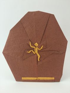 Rock climber designed and folded by Quentin Trollip from an uncut square by Quentin Origami