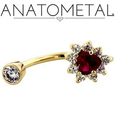 "7/16"", 14ga Gold Heart Navel Cluster in solid 18k yellow gold with CZ and synthetic Ruby gemstones"