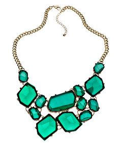 Mmm pretty. And could totally go with a navy OR black, my 2 staple base colors.   Blu Bijoux Gold and Green Stones Bib Necklace