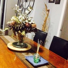 Dining area with skull fragrance and my fave Australian natives dried flowers.