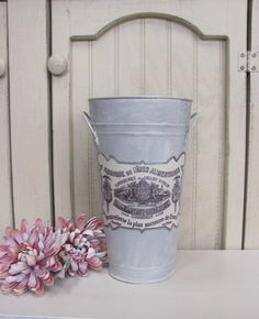 26.00  French Flower Market Galvanized Bucket  This lovely French themed bucket was created by me, and would be the perfect addition to your French
