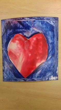 encaustic wax painting valentines card