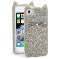 kate spade new york 'glitter cat' iPhone 5 & 5s case ($17) ❤ liked on Polyvore featuring accessories, tech accessories, phone cases, phones, electronics, cases, silver glitter e kate spade