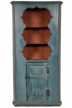 "COLONIAL PAINTED CUPBOARD - 18th c American Pine, open top, original blue & red casein milk paint, molded flat top, 2 incurved shelves, panel door below over shelves, H hinges, turn knob, molded foot. 78"" x 38"" x 24"". Fine condition. From a Bailey Island Maine home."