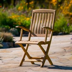 Ravello Folding Arm Chair - Teak Outdoor Furniture | Terra Patio Patio Chairs, Side Chairs, Outdoor Chairs, Outdoor Decor, Teak Outdoor Furniture, Furniture Collection, Outdoor Dining, Armchair, Backyard