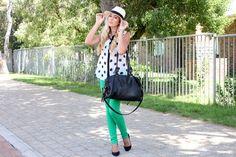 Green jeans + polka dot