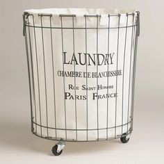 Decor/accessories - Inspired by Parisian laundry baskets, the Claudette Wire Hamper adds a tres chic touch to your laundry time. Sitting atop casters, this stylish rolling hamper includes a removable printed polyester liner. Laundry Cart, Laundry Bin, Laundry Hamper, Laundry Shop, Laundry Basket On Wheels, Wire Laundry Basket, Rolling Laundry Basket, Paris France, Kitchen