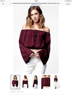 ee8fa34290a Hooked on Bell Sleeve Cropped Off-The-Shoulder Top that I found on the  PacSun App
