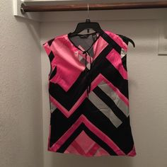 Satin Geometric Print Blouse With A Front Tie Hot Pink,Black and Silver Satin Geometric Print Blouse With A Front Tie.... New York & Company Tops Blouses