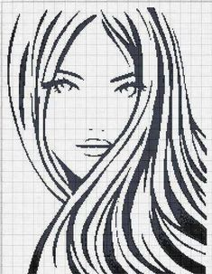 point de croix monochrome visage fille - cross stitch girl's face