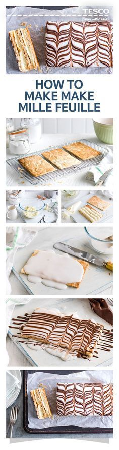 Topped with sweet frosting and pipped chocolate, this mille feuille recipe is the ultimate afternoon tea treat. Bite through the crispy layers of this French fancy and enjoy a rich cream filling, sandwiched between the flaky pastry. Give it a go with our easy step-by-step guide and make this beautiful delicacy at home. | Tesco