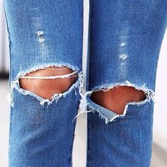 Ripped denim knees.  www.myblondecloset.com