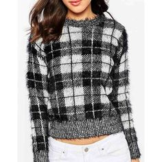 Motel   Motel Buttercup Cropped Jumper in Black and Cream at ASOS (76 AUD) via Polyvore