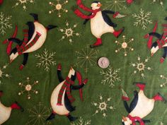 Penguins On Ice Debbie Mumm Flannel Fabric Last Yard Snow Flakes Sewing Crafts #SouthSeaImports