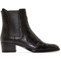 Saint Laurent Black Croc-Embossed Leather Wyatt Boots (10.125 ARS) ❤ liked on Polyvore featuring shoes, boots, ankle booties, ankle boots, footwear, yves saint laurent, high ankle booties, ankle high boots, black ankle booties and black boots
