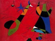 Joan Miro - Personajes sobre fondo rojo