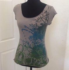 Levi's Sz Medium Graphic Tee Shirt Blue Grey Green Floral Design Women's  G1  | eBay