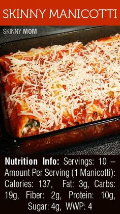 Skinny Manicotti | Skinny Mom | Tips for Moms | Fitness | Food | Fashion | Family